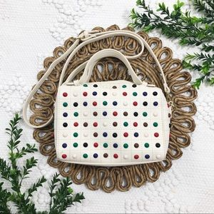 Charming Charlie Off-White Multicolor Stud Purse